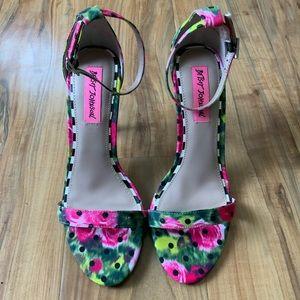 Betsy Johnson Rose And Polka Dot Open Toe Heels